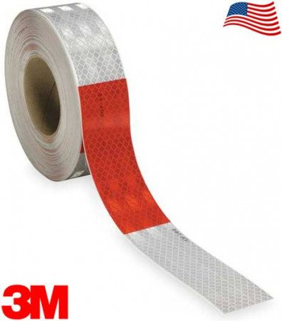 "3M Flexible 963-326 DOT Conspicuity Tape 6"" White / 6"" Red 2"" x 150' Kiss-Cut Every 1 Foot"