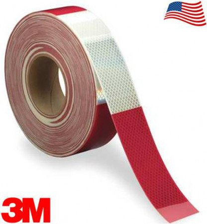 "3M Diamond Rigid 983-326 DOT Conspicuity Tape 6"" White / 6"" Red 2"" x 150' Kiss-Cut Every 1 Foot"
