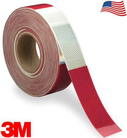 "3M Diamond Rigid 983-326 DOT Conspicuity Tape 6"" White / 6"" Red 2"" x 150'"