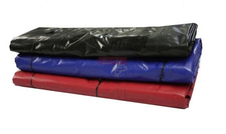 Heavy Duty 18oz Lumber Tarp 24x27 (8' Drop w/ 5 Rows D-Rings) - Black