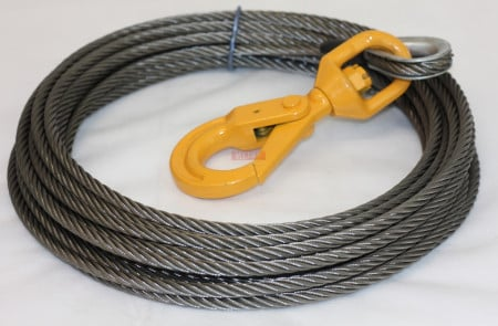"Wire Rope Steel Winch Cable 3/8"" x 150' Self-Locking Swivel Hook"