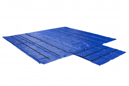 Heavy Duty 18oz Lumber Tarp 20x18 (6' Drop with 6' x 8' Flap) - Blue