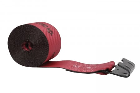 "Kinedyne 4"" x 30' Winch Strap with Flat Hook - Red"