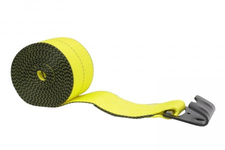 "4"" x 30' Winch Strap w/ Flat Hook Webbing (Reflective Yellow)"