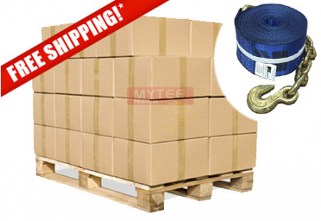 "Kinedyne (240 Pack Full Pallet) 4""x30' Winch Straps with Chain Anchor - WLL 5400  Flatbed Tie Down Strap"