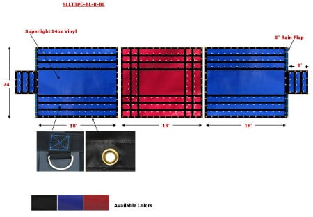 Superlight 14oz 3 Pc Lumber Tarp (8' Drop) - Blue Ends, Red Middle