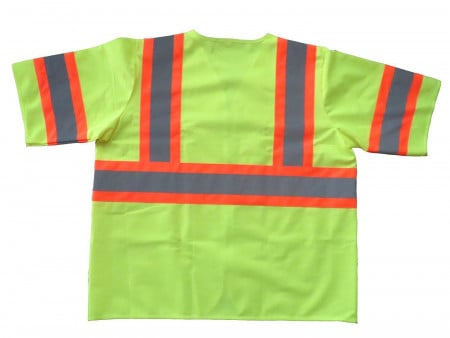 Safety Vest Class 3 Fluorescent Yellow w/ Orange Trim & Silver Tape - XL