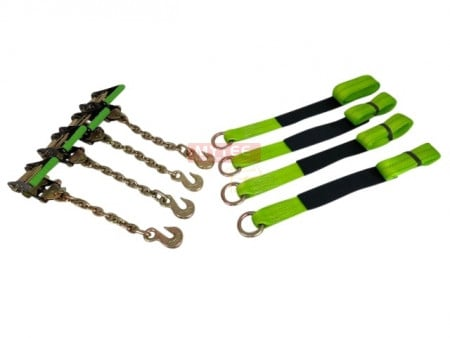 Auto Tie Down Straps 8' w/Chain Anchor (High Visibility Green Webbing)