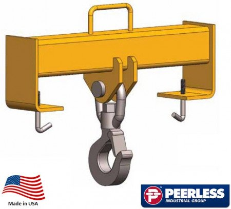 "Fork Truck Hook Beam Fixed, 2 Ton Capacity, Fork 20"" Spread"